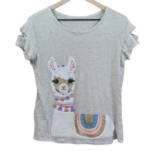 Justice Sequin Lama Short Sleeve Heathered Top